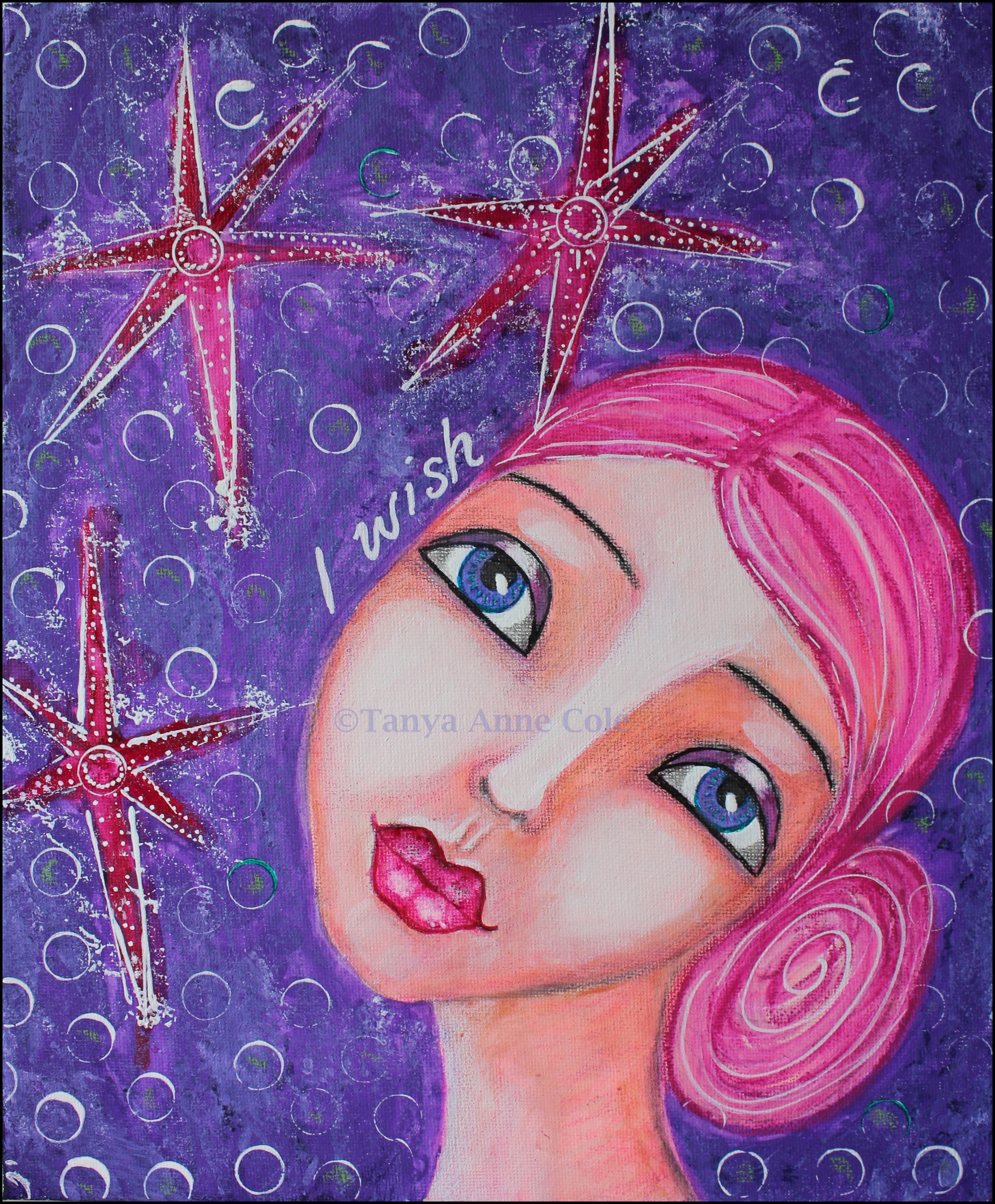 I wish pink haired girl on canvas gazing at stars